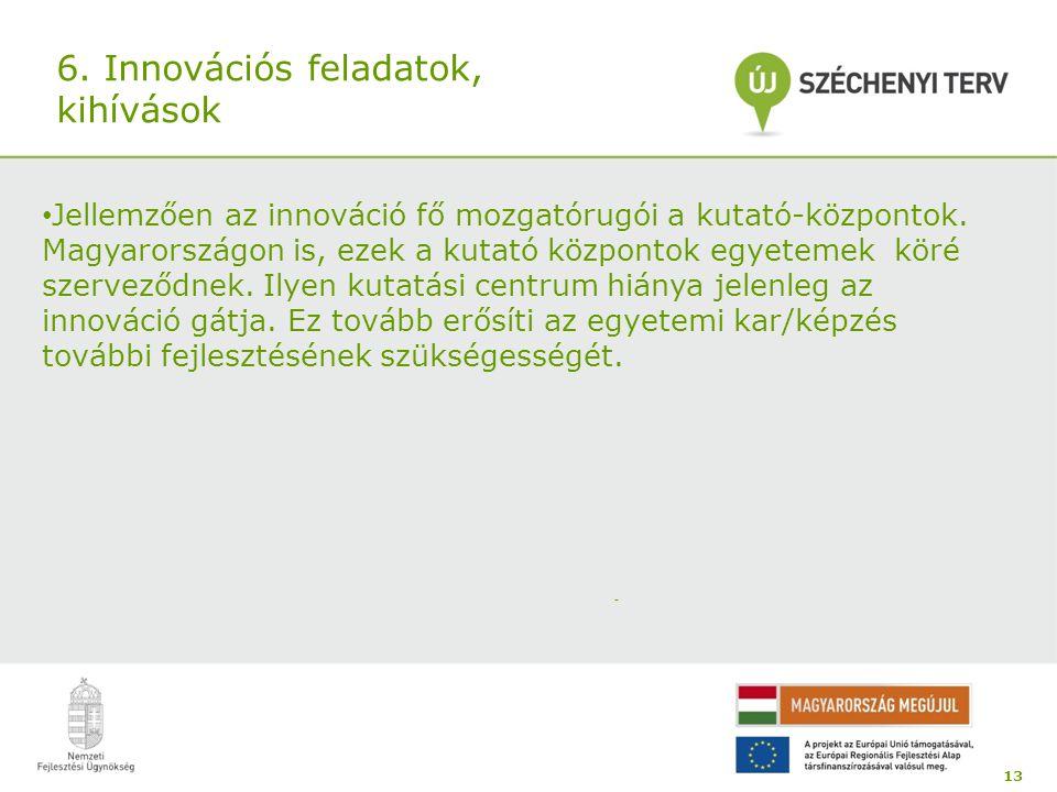 6. Innovációs feladatok, kihívások Jellemzően az innováció fő mozgatórugói a kutató-központok. Magyarországon is, ezek a kutató központok egyetemek kö