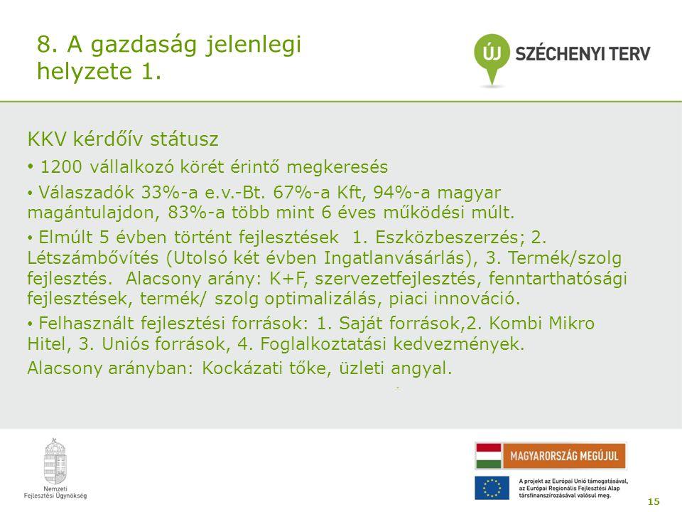 8. A gazdaság jelenlegi helyzete 1. KKV kérdőív státusz 1200 vállalkozó körét érintő megkeresés Válaszadók 33%-a e.v.-Bt. 67%-a Kft, 94%-a magyar magá