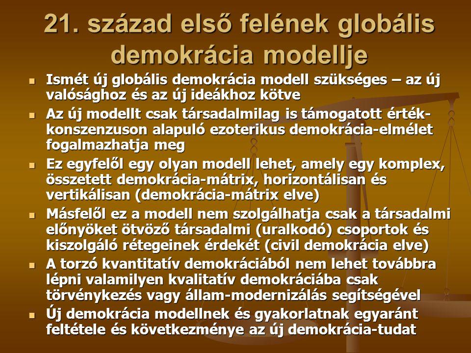 21. század első felének globális demokrácia modellje Ismét új globális demokrácia modell szükséges – az új valósághoz és az új ideákhoz kötve Ismét új