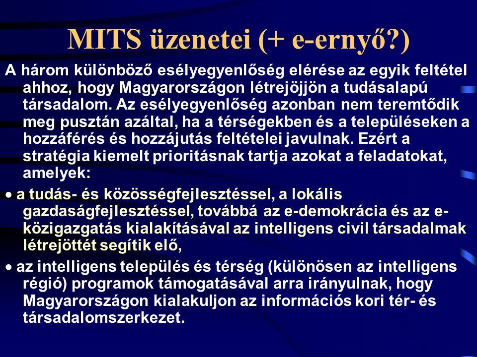 MITS üzenetei (+ e-ernyő?) A három különböző esélyegyenlőség elérése az egyik feltétel ahhoz, hogy Magyarországon létrejöjjön a tudásalapú társadalom.