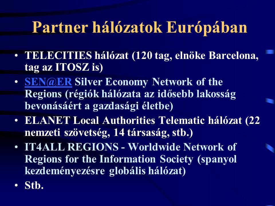 Partner hálózatok Európában TELECITIES hálózat (120 tag, elnöke Barcelona, tag az ITOSZ is) SEN@ER Silver Economy Network of the Regions (régiók hálózata az idősebb lakosság bevonásáért a gazdasági életbe)SEN@ER ELANET Local Authorities Telematic hálózat (22 nemzeti szövetség, 14 társaság, stb.) IT4ALL REGIONS - Worldwide Network of Regions for the Information Society (spanyol kezdeményezésre globális hálózat) Stb.