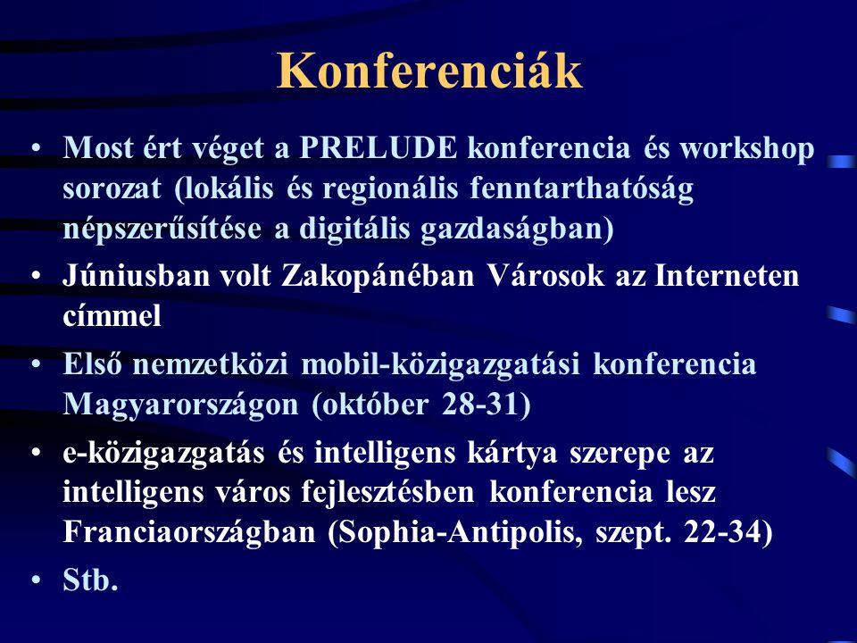 Konferenciák Most ért véget a PRELUDE konferencia és workshop sorozat (lokális és regionális fenntarthatóság népszerűsítése a digitális gazdaságban) Júniusban volt Zakopánéban Városok az Interneten címmel Első nemzetközi mobil-közigazgatási konferencia Magyarországon (október 28-31) e-közigazgatás és intelligens kártya szerepe az intelligens város fejlesztésben konferencia lesz Franciaországban (Sophia-Antipolis, szept.