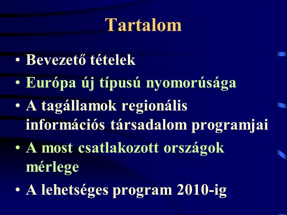 Tartalom Bevezető tételek Európa új típusú nyomorúsága A tagállamok regionális információs társadalom programjai A most csatlakozott országok mérlege A lehetséges program 2010-ig