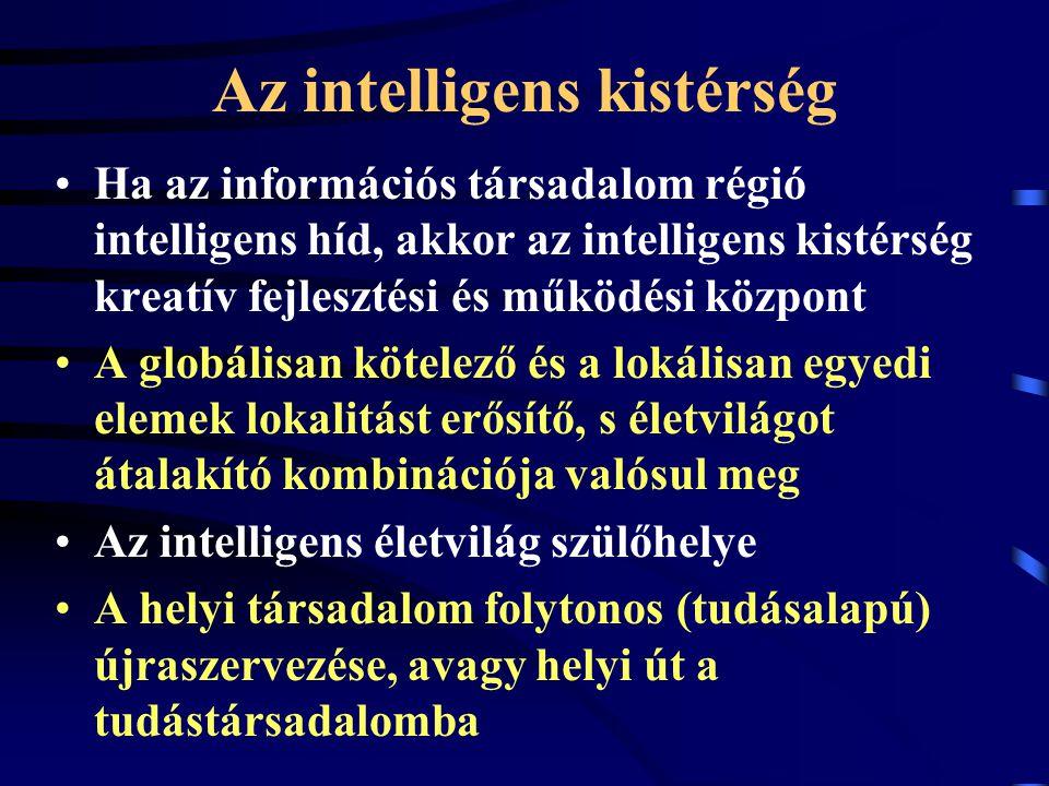 Az intelligens kistérség Ha az információs társadalom régió intelligens híd, akkor az intelligens kistérség kreatív fejlesztési és működési központ A globálisan kötelező és a lokálisan egyedi elemek lokalitást erősítő, s életvilágot átalakító kombinációja valósul meg Az intelligens életvilág szülőhelye A helyi társadalom folytonos (tudásalapú) újraszervezése, avagy helyi út a tudástársadalomba