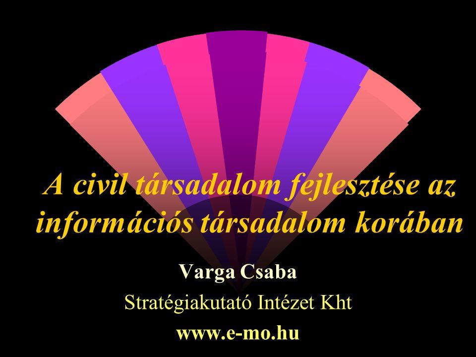 A civil társadalom fejlesztése az információs társadalom korában Varga Csaba Stratégiakutató Intézet Kht www.e-mo.hu