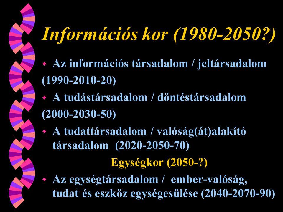Információs kor (1980-2050?) w Az információs társadalom / jeltársadalom (1990-2010-20) w A tudástársadalom / döntéstársadalom (2000-2030-50) w A tudattársadalom / valóság(át)alakító társadalom (2020-2050-70) Egységkor (2050-?) w Az egységtársadalom / ember-valóság, tudat és eszköz egységesülése (2040-2070-90)