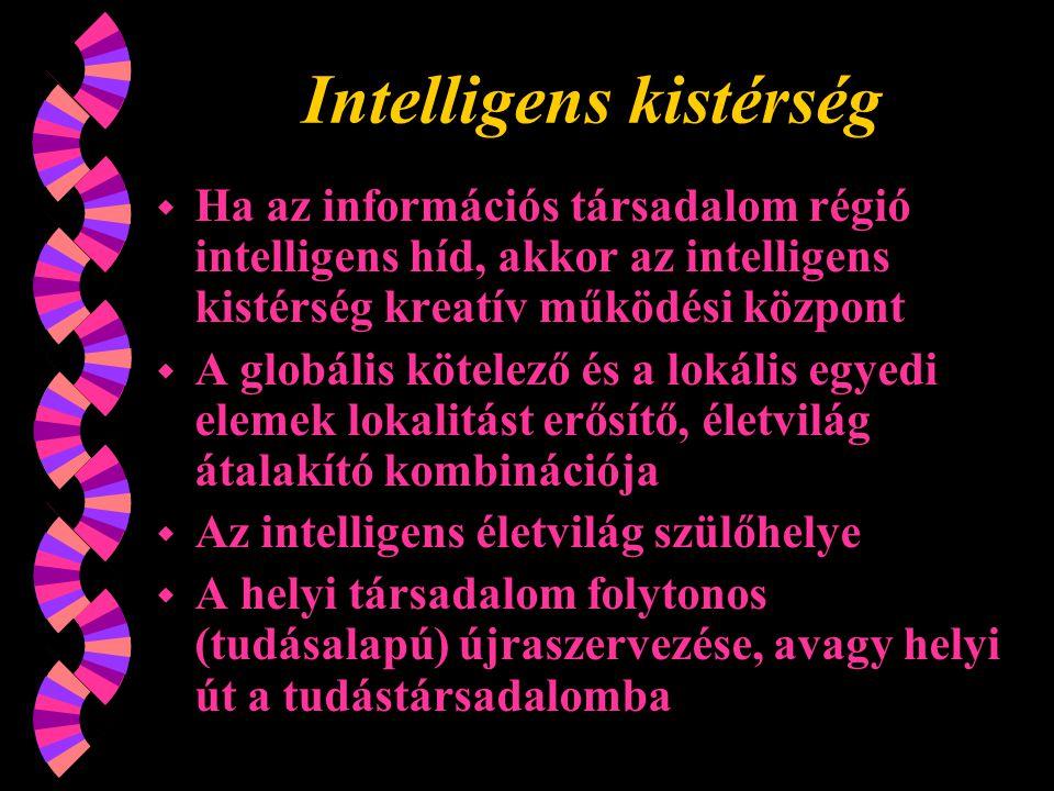 Intelligens kistérség w Ha az információs társadalom régió intelligens híd, akkor az intelligens kistérség kreatív működési központ w A globális kötelező és a lokális egyedi elemek lokalitást erősítő, életvilág átalakító kombinációja w Az intelligens életvilág szülőhelye w A helyi társadalom folytonos (tudásalapú) újraszervezése, avagy helyi út a tudástársadalomba