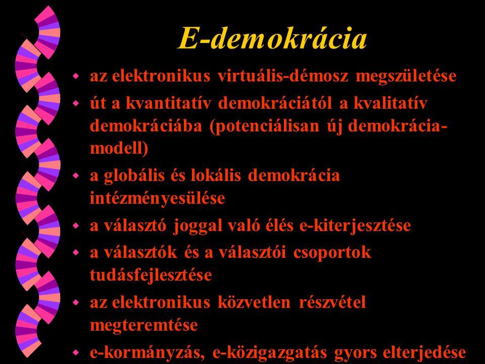 E-demokrácia w az elektronikus virtuális-démosz megszületése w út a kvantitatív demokráciától a kvalitatív demokráciába (potenciálisan új demokrácia- modell) w a globális és lokális demokrácia intézményesülése w a választó joggal való élés e-kiterjesztése w a választók és a választói csoportok tudásfejlesztése w az elektronikus közvetlen részvétel megteremtése w e-kormányzás, e-közigazgatás gyors elterjedése w a posztmodern demokráciaelmélet kialakulása