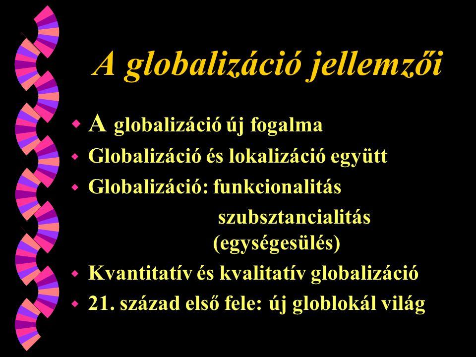 A globalizáció jellemzői w A globalizáció új fogalma w Globalizáció és lokalizáció együtt w Globalizáció: funkcionalitás szubsztancialitás (egységesülés) w Kvantitatív és kvalitatív globalizáció w 21.
