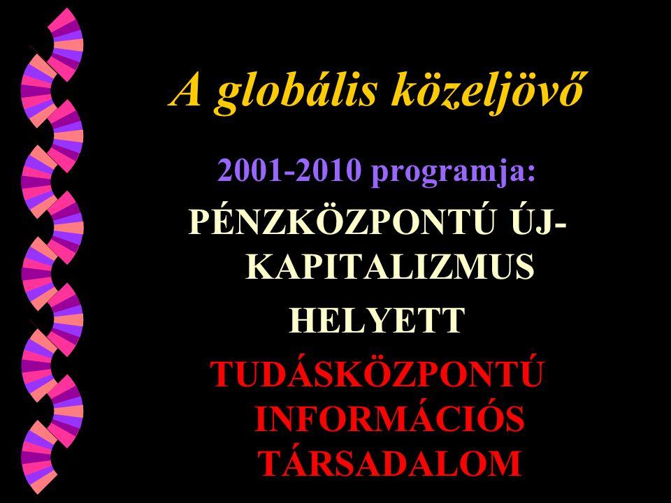 A globális közeljövő 2001-2010 programja: PÉNZKÖZPONTÚ ÚJ- KAPITALIZMUS HELYETT TUDÁSKÖZPONTÚ INFORMÁCIÓS TÁRSADALOM