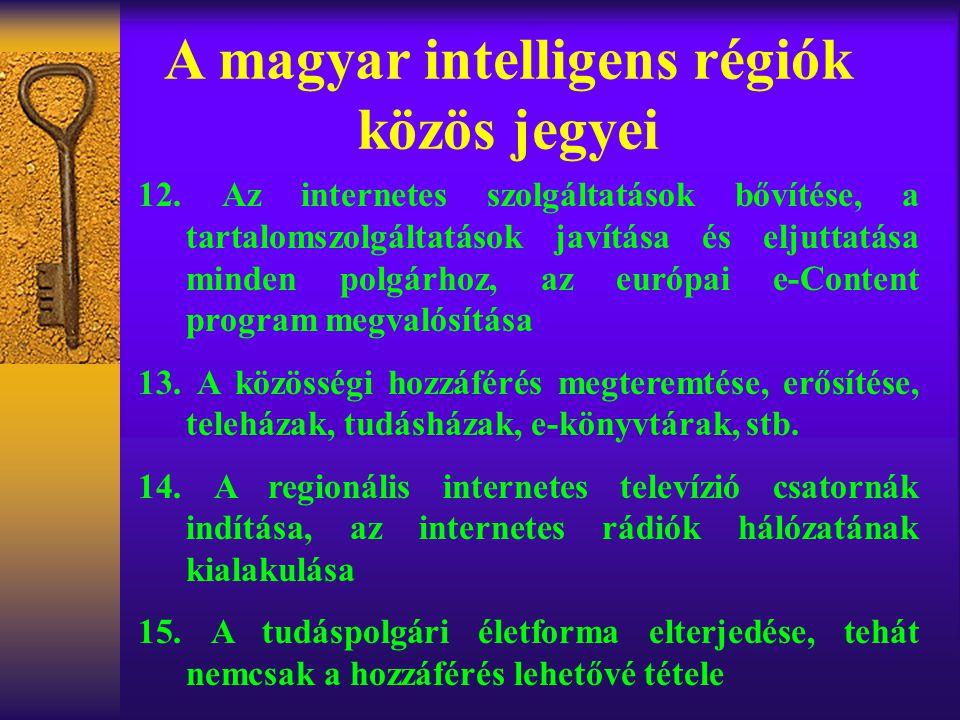A magyar intelligens régiók közös jegyei 12. Az internetes szolgáltatások bővítése, a tartalomszolgáltatások javítása és eljuttatása minden polgárhoz,