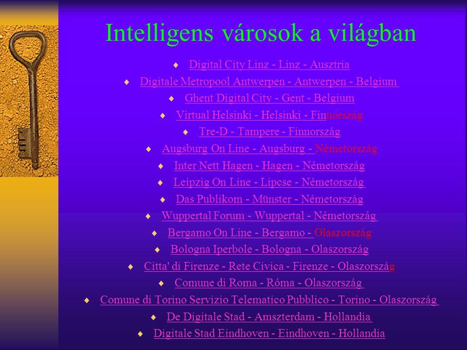 Intelligens városok a világban  Digital City Linz - Linz - Ausztria Digital City Linz - Linz - Ausztria  Digitale Metropool Antwerpen - Antwerpen -