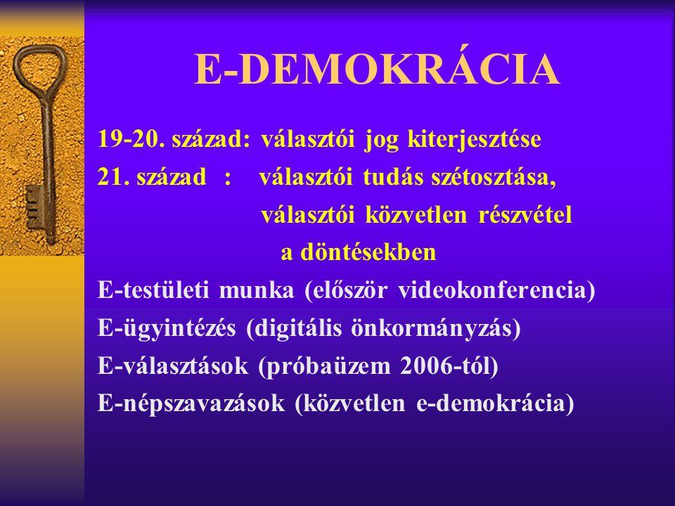 E-DEMOKRÁCIA 19-20. század: választói jog kiterjesztése 21. század : választói tudás szétosztása, választói közvetlen részvétel a döntésekben E-testül