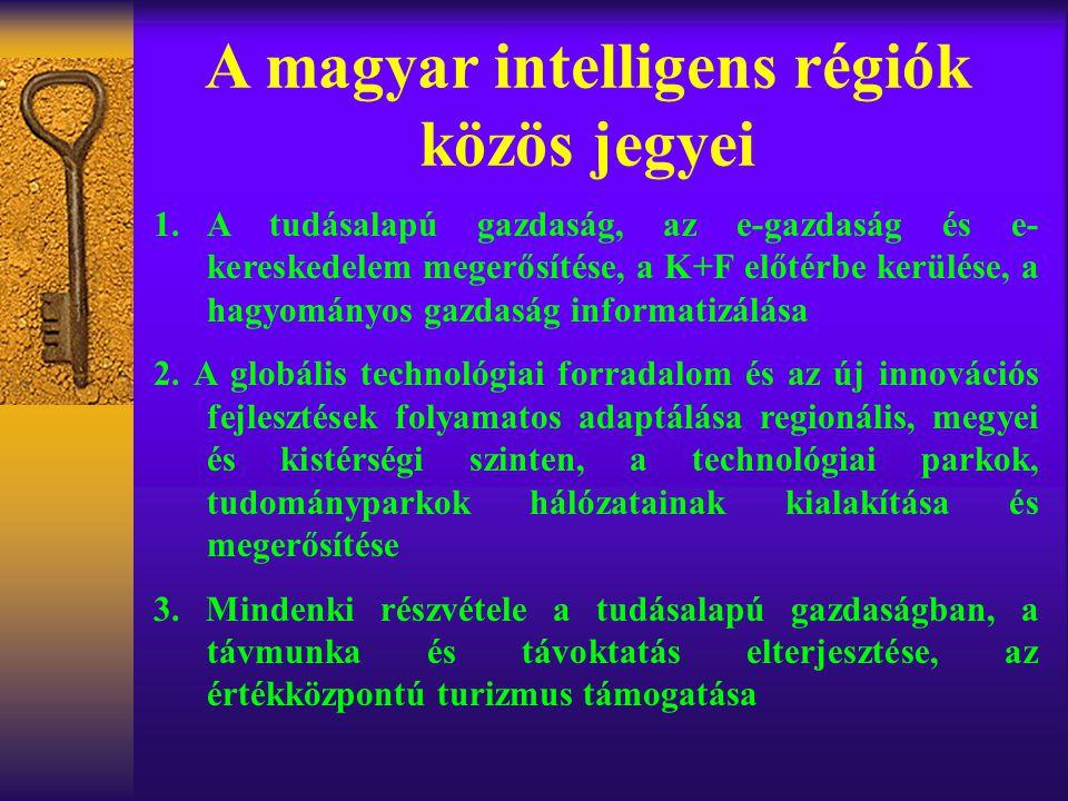 A magyar intelligens régiók közös jegyei 1.A tudásalapú gazdaság, az e-gazdaság és e- kereskedelem megerősítése, a K+F előtérbe kerülése, a hagyományos gazdaság informatizálása 2.