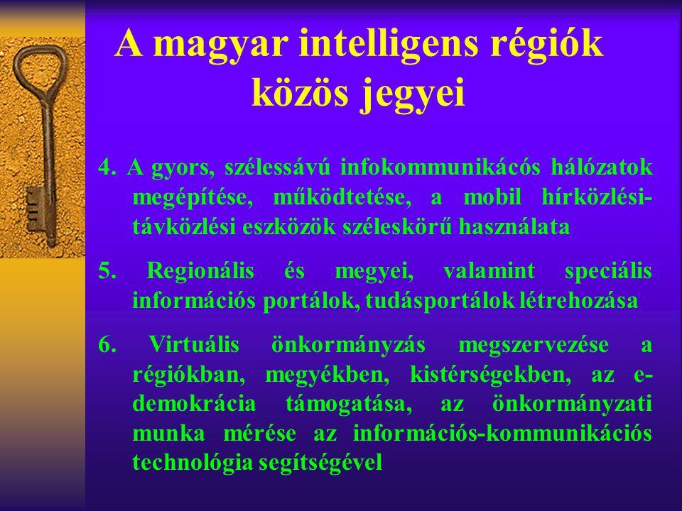 A magyar intelligens régiók közös jegyei 4. A gyors, szélessávú infokommunikácós hálózatok megépítése, működtetése, a mobil hírközlési- távközlési esz