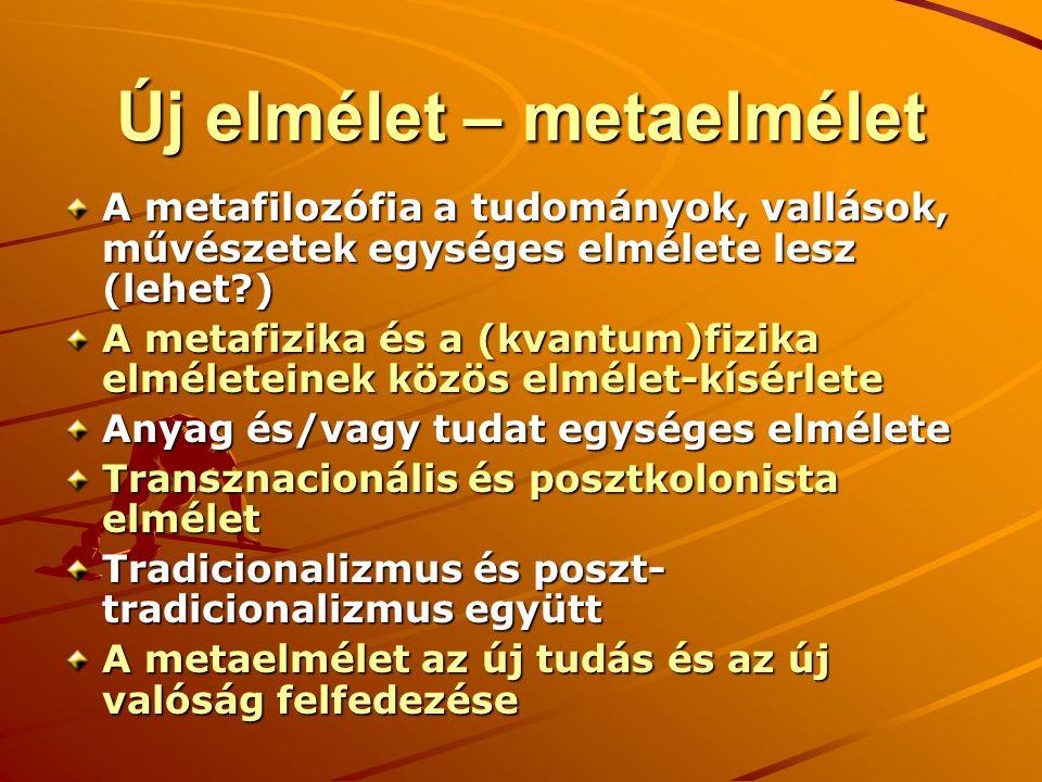 Új elmélet – metaelmélet A metafilozófia a tudományok, vallások, művészetek egységes elmélete lesz (lehet?) A metafizika és a (kvantum)fizika elméleteinek közös elmélet-kísérlete Anyag és/vagy tudat egységes elmélete Transznacionális és posztkolonista elmélet Tradicionalizmus és poszt- tradicionalizmus együtt A metaelmélet az új tudás és az új valóság felfedezése
