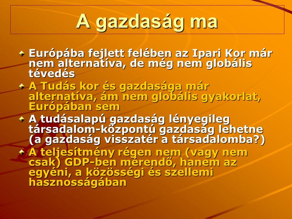A gazdaság ma Európába fejlett felében az Ipari Kor már nem alternatíva, de még nem globális tévedés A Tudás kor és gazdasága már alternatíva, ám nem globális gyakorlat, Európában sem A tudásalapú gazdaság lényegileg társadalom-központú gazdaság lehetne (a gazdaság visszatér a társadalomba?) A teljesítmény régen nem (vagy nem csak) GDP-ben mérendő, hanem az egyéni, a közösségi és szellemi hasznosságában