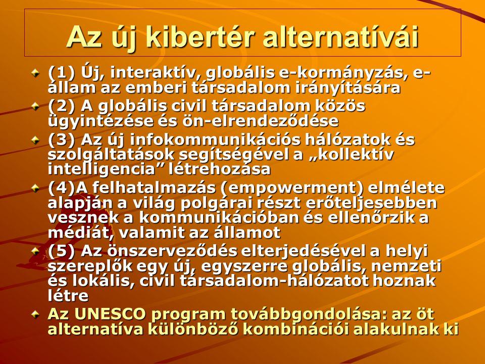 """Az új kibertér alternatívái (1) Új, interaktív, globális e-kormányzás, e- állam az emberi társadalom irányítására (2) A globális civil társadalom közös ügyintézése és ön-elrendeződése (3) Az új infokommunikációs hálózatok és szolgáltatások segítségével a """"kollektív intelligencia létrehozása (4)A felhatalmazás (empowerment) elmélete alapján a világ polgárai részt erőteljesebben vesznek a kommunikációban és ellenőrzik a médiát, valamit az államot (5) Az önszerveződés elterjedésével a helyi szereplők egy új, egyszerre globális, nemzeti és lokális, civil társadalom-hálózatot hoznak létre Az UNESCO program továbbgondolása: az öt alternatíva különböző kombinációi alakulnak ki"""