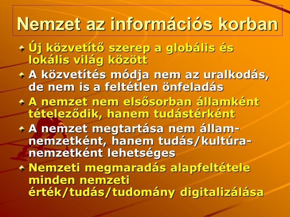 Nemzet az információs korban Új közvetítő szerep a globális és lokális világ között A közvetítés módja nem az uralkodás, de nem is a feltétlen önfeladás A nemzet nem elsősorban államként tételeződik, hanem tudástérként A nemzet megtartása nem állam- nemzetként, hanem tudás/kultúra- nemzetként lehetséges Nemzeti megmaradás alapfeltétele minden nemzeti érték/tudás/tudomány digitalizálása