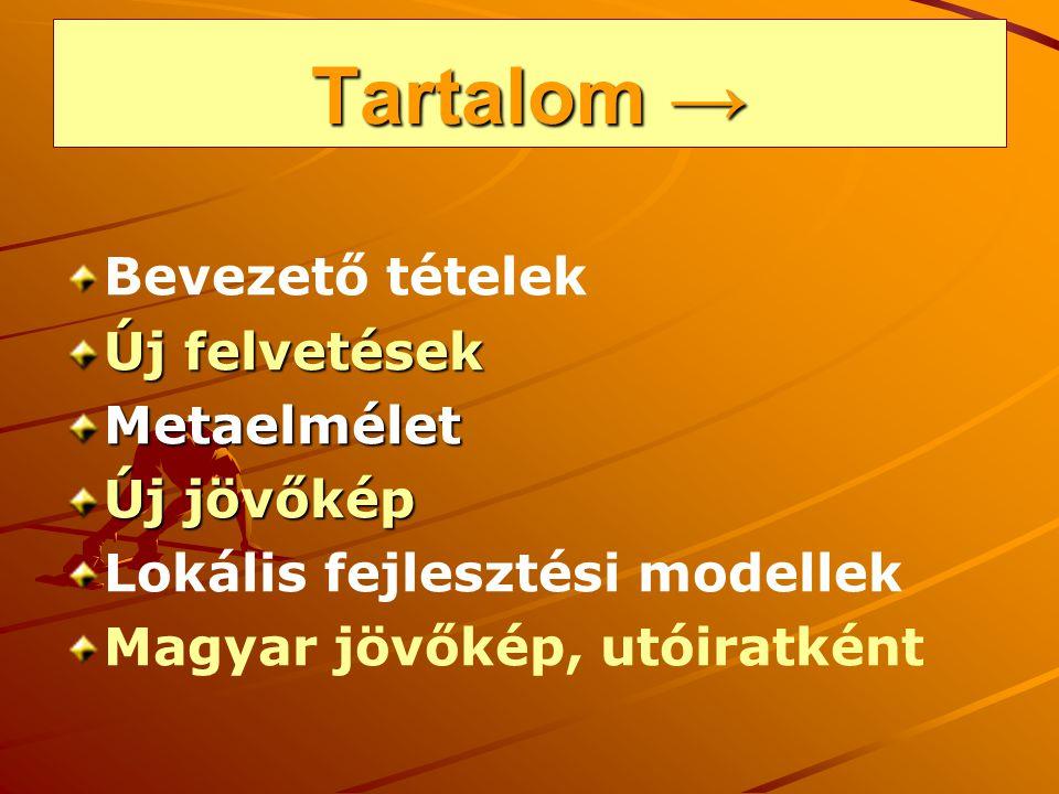 Tartalom → Bevezető tételek Új felvetések Metaelmélet Új jövőkép Lokális fejlesztési modellek Magyar jövőkép, utóiratként