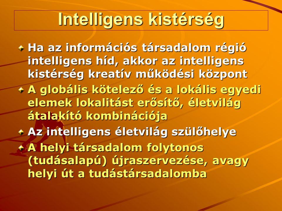 Intelligens kistérség Ha az információs társadalom régió intelligens híd, akkor az intelligens kistérség kreatív működési központ A globális kötelező és a lokális egyedi elemek lokalitást erősítő, életvilág átalakító kombinációja Az intelligens életvilág szülőhelye A helyi társadalom folytonos (tudásalapú) újraszervezése, avagy helyi út a tudástársadalomba