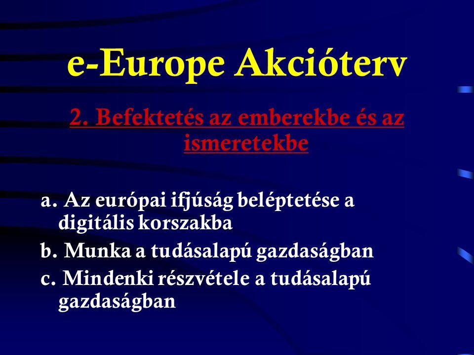 e-Europe Akcióterv 1. Olcsóbb, gyorsabb és biztonságosabb internet a.