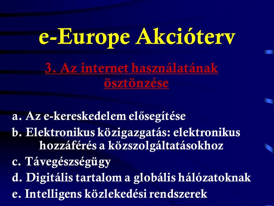 e-Europe Akcióterv 2. Befektetés az emberekbe és az ismeretekbe a.