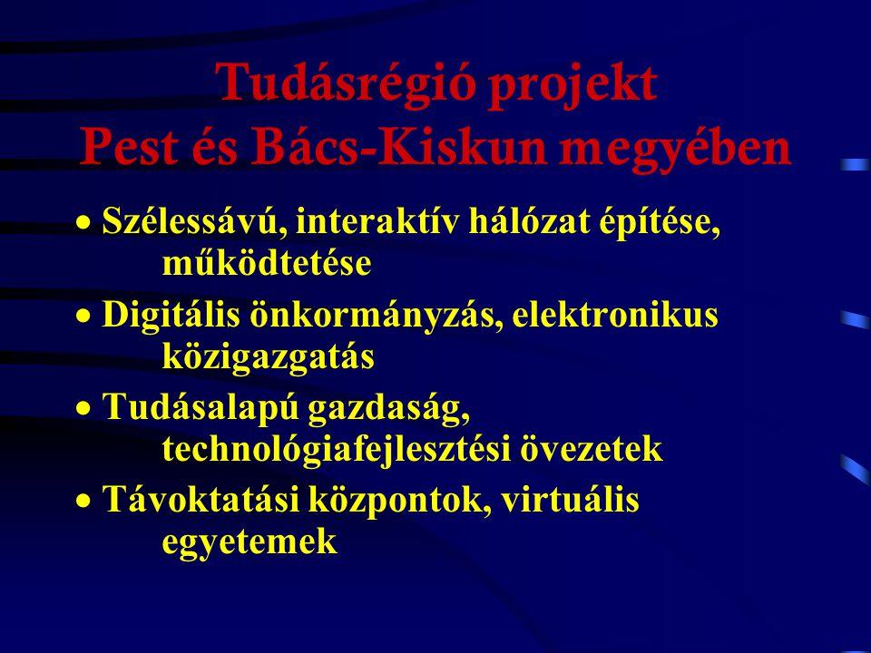 Hazai intelligens régiók, megyék Elkészült: Tudásrégió (funkcionális régió) Dél-Alföld Nyugat-Dunántúl Közép-Magyarország Közép-Dunántúl Somogy megye, Fejér megye Készül: Szabolcs-Szatmár-Bereg megye Baranya megye Stb.