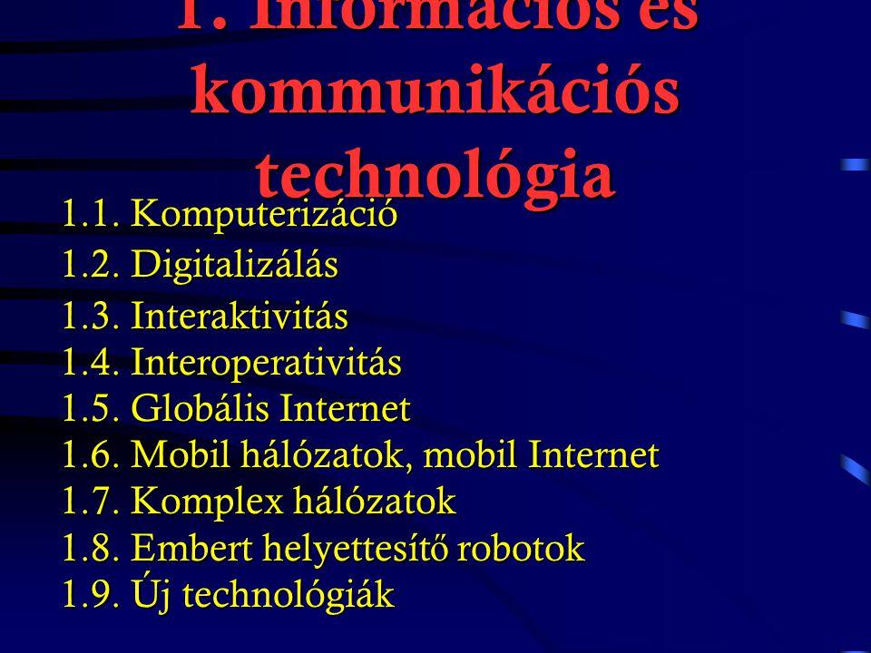 Az információs társadalom fogalma Az információs társadalom fogalma négy tételben