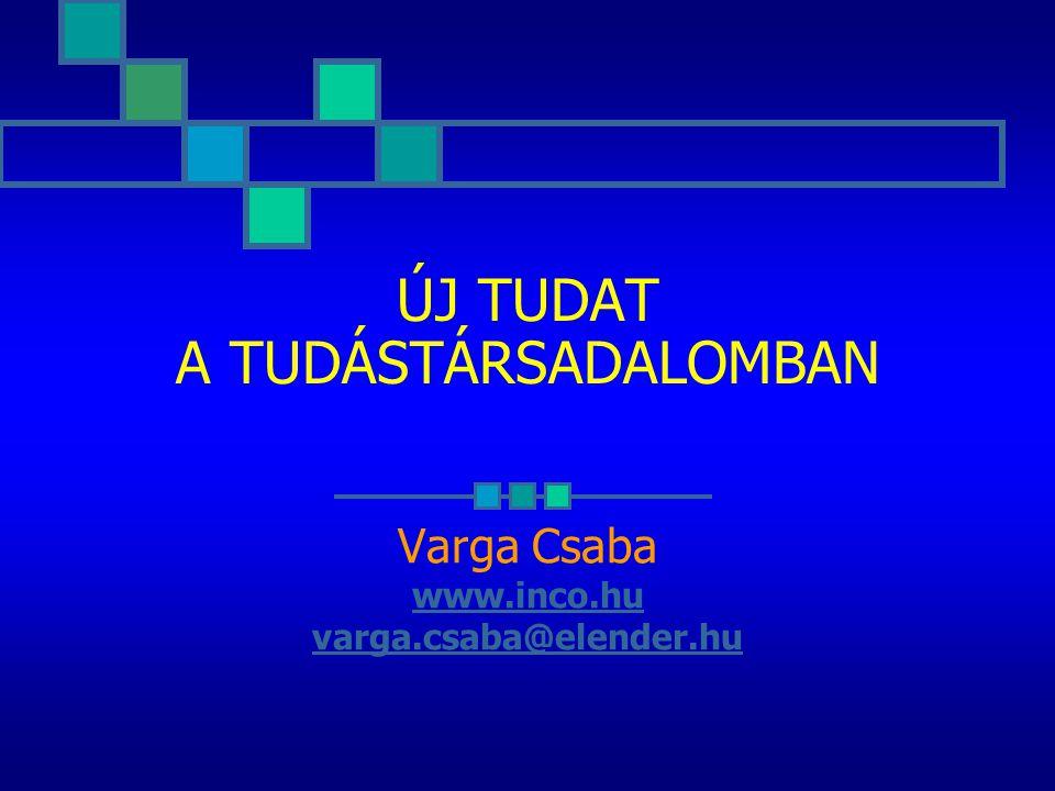 ÚJ TUDAT A TUDÁSTÁRSADALOMBAN Varga Csaba www.inco.hu varga.csaba@elender.hu