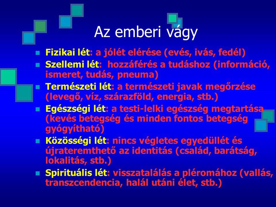 Az emberi vágy Fizikai lét: a jólét elérése (evés, ivás, fedél) Szellemi lét: hozzáférés a tudáshoz (információ, ismeret, tudás, pneuma) Természeti lét: a természeti javak megőrzése (levegő, víz, szárazföld, energia, stb.) Egészségi lét: a testi-lelki egészség megtartása (kevés betegség és minden fontos betegség gyógyítható) Közösségi lét: nincs végletes egyedüllét és újrateremthető az identitás (család, barátság, lokalitás, stb.) Spirituális lét: visszatalálás a pléromához (vallás, transzcendencia, halál utáni élet, stb.)