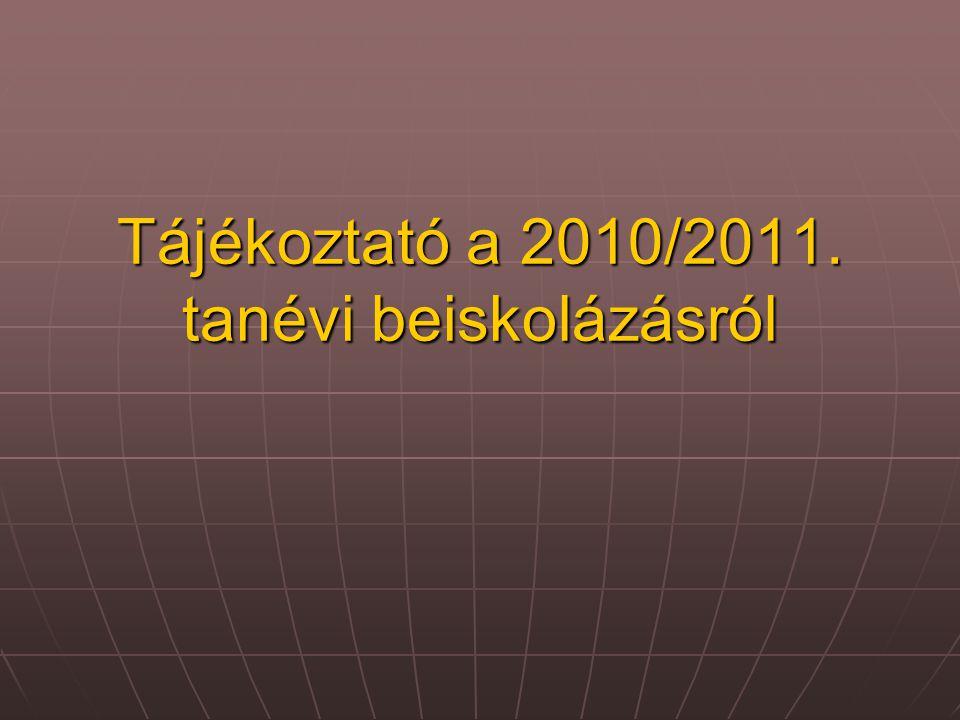 Tájékoztató a 2010/2011. tanévi beiskolázásról