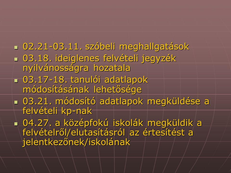 02.21-03.11. szóbeli meghallgatások 02.21-03.11. szóbeli meghallgatások 03.18. ideiglenes felvételi jegyzék nyilvánosságra hozatala 03.18. ideiglenes
