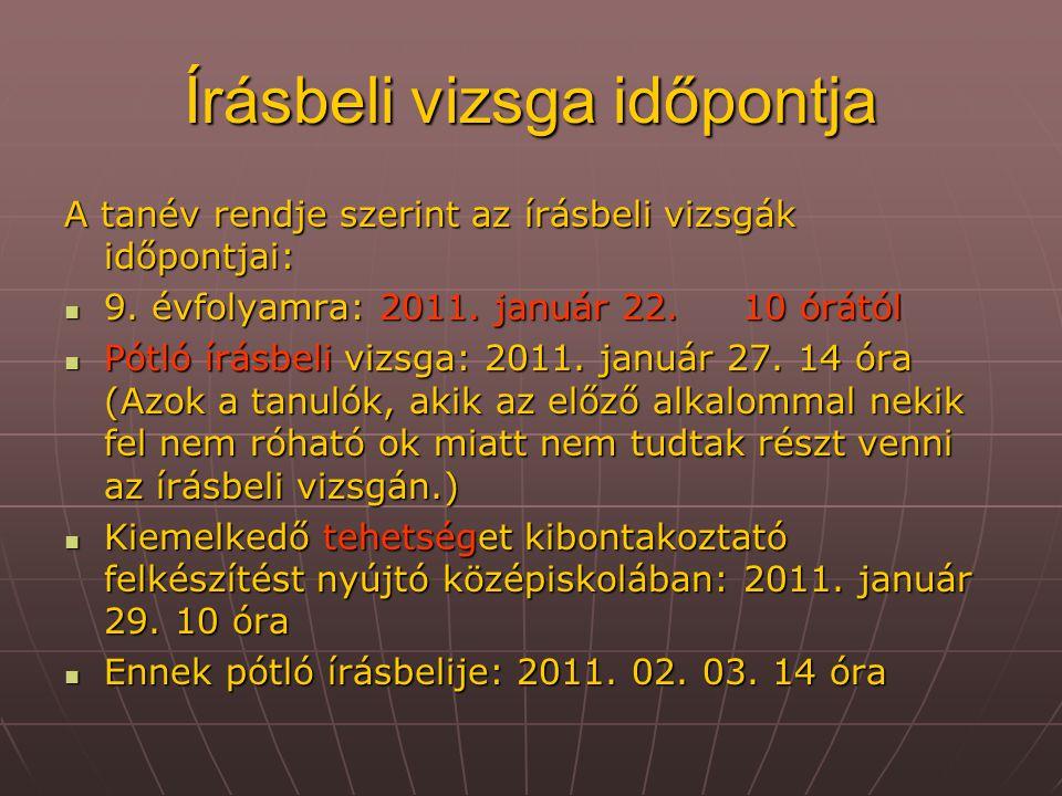 Írásbeli vizsga időpontja A tanév rendje szerint az írásbeli vizsgák időpontjai: 9. évfolyamra: 2011. január 22. 10 órától 9. évfolyamra: 2011. január