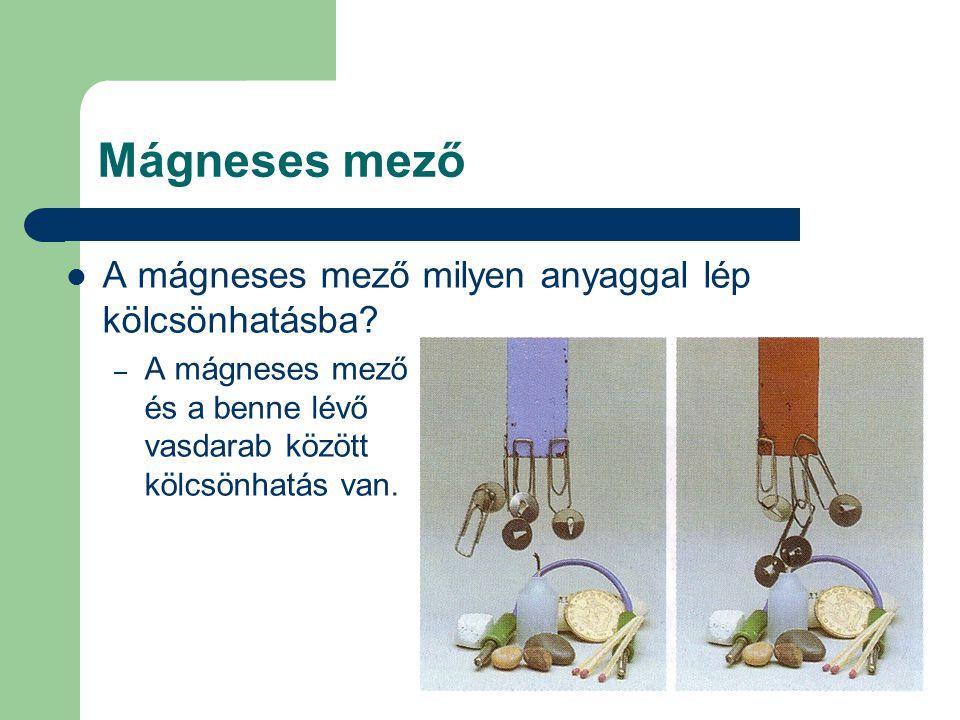 Mágneses mező A mágneses mező milyen anyaggal lép kölcsönhatásba? – A mágneses mező és a benne lévő vasdarab között kölcsönhatás van.