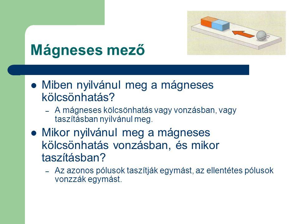 Mágneses mező Miben nyilvánul meg a mágneses kölcsönhatás? – A mágneses kölcsönhatás vagy vonzásban, vagy taszításban nyilvánul meg. Mikor nyilvánul m