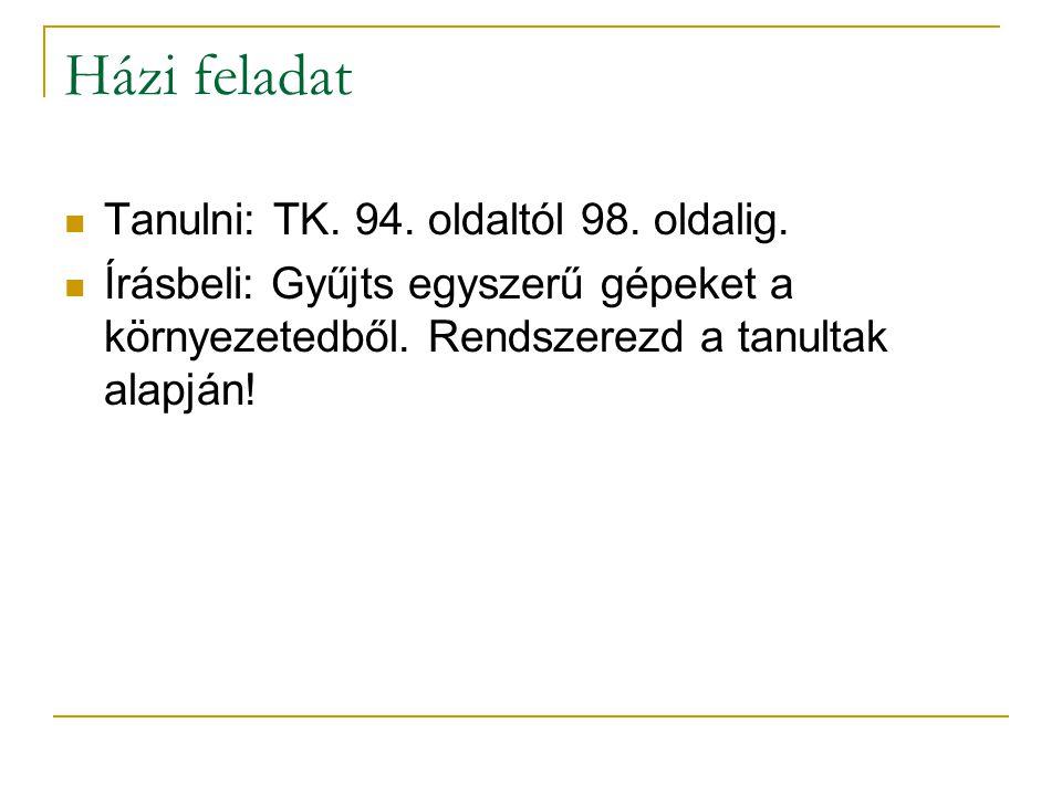 Házi feladat Tanulni: TK.94. oldaltól 98. oldalig.