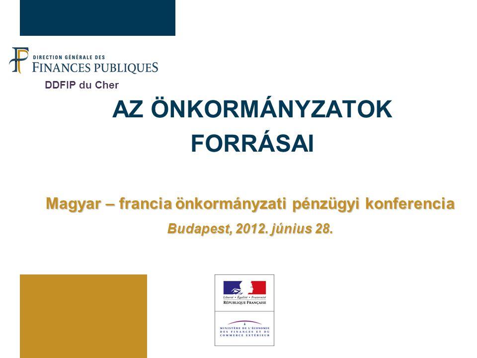 AZ ÖNKORMÁNYZATOK FORRÁSAI Magyar – francia önkormányzati pénzügyi konferencia Budapest, 2012. június 28. DDFIP du Cher