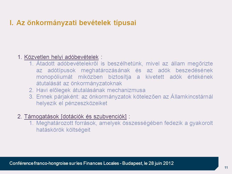 11 Conférence franco-hongroise sur les Finances Locales - Budapest, le 28 juin 2012 I.Az önkormányzati bevételek típusai 1.Közvetlen helyi adóbevételek : 1.Átadott adóbevételekről is beszélhetünk, mivel az állam megőrizte az adótípusok meghatározásának és az adók beszedésének monopóliumát miközben biztosítja a kivetett adók értékének átutalását az önkormányzatoknak 2.Havi előlegek átutalásának mechanizmusa 3.Ennek párjaként: az önkormányzatok kötelezően az Államkincstárnál helyezik el pénzeszközeiket 2.Támogatások [dotációk és szubvenciók] : 1.Meghatározott források, amelyek összességében fedezik a gyakorolt hatáskörök költségeit