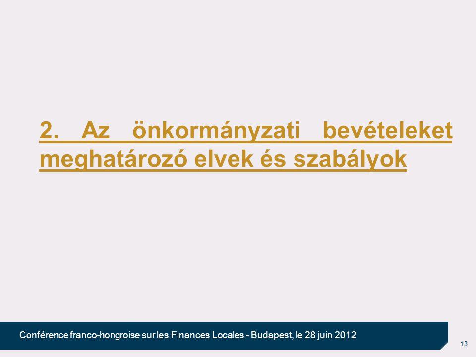 13 Conférence franco-hongroise sur les Finances Locales - Budapest, le 28 juin 2012 2. Az önkormányzati bevételeket meghatározó elvek és szabályok
