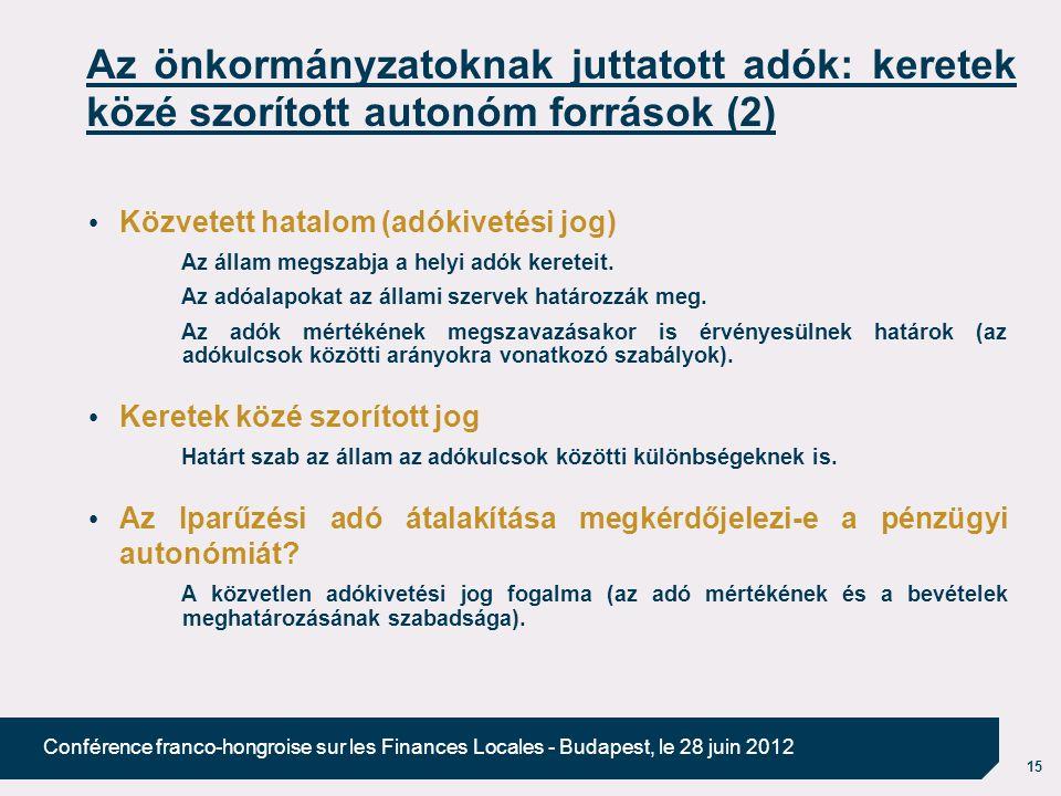 15 Conférence franco-hongroise sur les Finances Locales - Budapest, le 28 juin 2012 Az önkormányzatoknak juttatott adók: keretek közé szorított autonóm források (2) Közvetett hatalom (adókivetési jog) Az állam megszabja a helyi adók kereteit.
