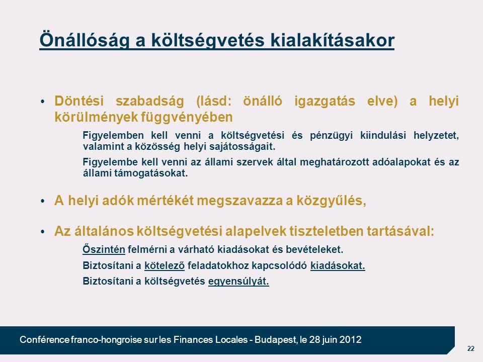 22 Conférence franco-hongroise sur les Finances Locales - Budapest, le 28 juin 2012 Önállóság a költségvetés kialakításakor Döntési szabadság (lásd: önálló igazgatás elve) a helyi körülmények függvényében Figyelemben kell venni a költségvetési és pénzügyi kiindulási helyzetet, valamint a közösség helyi sajátosságait.