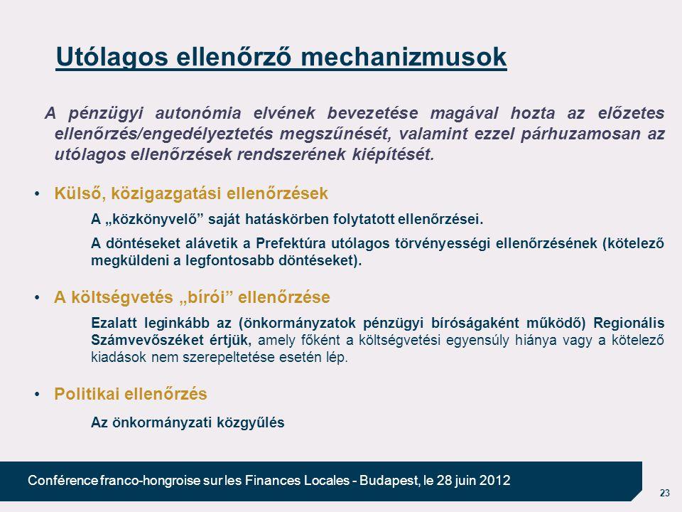 23 Conférence franco-hongroise sur les Finances Locales - Budapest, le 28 juin 2012 Utólagos ellenőrző mechanizmusok A pénzügyi autonómia elvének beve