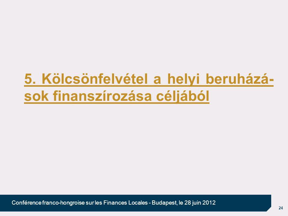 24 Conférence franco-hongroise sur les Finances Locales - Budapest, le 28 juin 2012 5. Kölcsönfelvétel a helyi beruházá- sok finanszírozása céljából