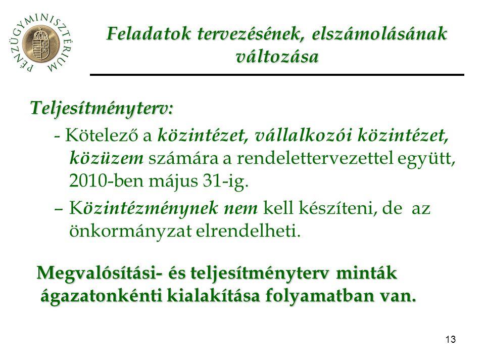 13 Feladatok tervezésének, elszámolásának változása Teljesítményterv: - Kötelező a közintézet, vállalkozói közintézet, közüzem számára a rendelettervezettel együtt, 2010-ben május 31-ig.