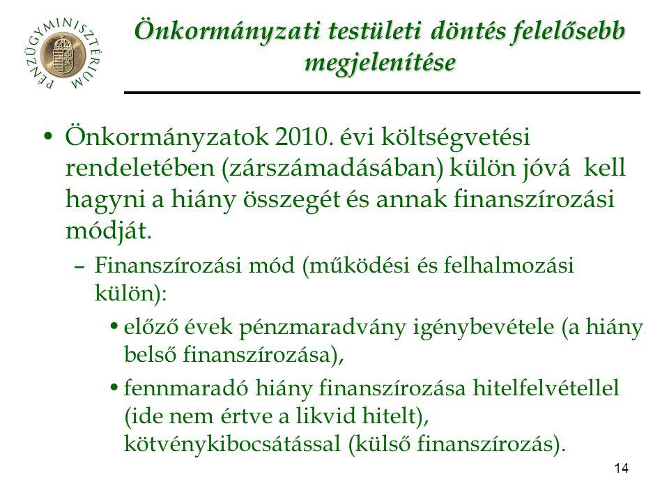 14 Önkormányzati testületi döntés felelősebb megjelenítése Önkormányzatok 2010. évi költségvetési rendeletében (zárszámadásában) külön jóvá kell hagyn