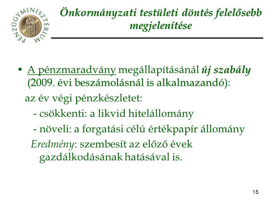 15 Önkormányzati testületi döntés felelősebb megjelenítése új szabály (2009. évi beszámolásnál is alkalmazandó)A pénzmaradvány megállapításánál új sza
