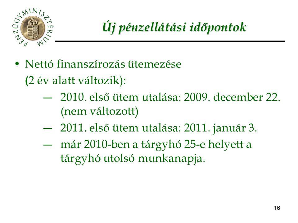 16 Új pénzellátási időpontok Nettó finanszírozás ütemezése ( 2 év alatt változik): ―2010. első ütem utalása: 2009. december 22. (nem változott) ―2011.
