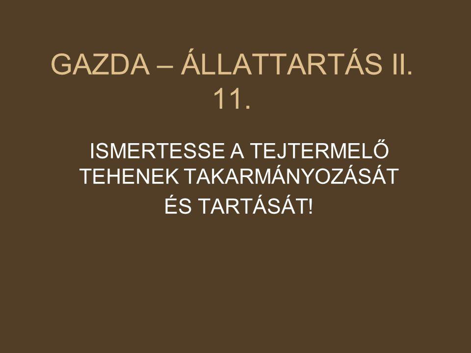 GAZDA – ÁLLATTARTÁS II. 11. ISMERTESSE A TEJTERMELŐ TEHENEK TAKARMÁNYOZÁSÁT ÉS TARTÁSÁT!