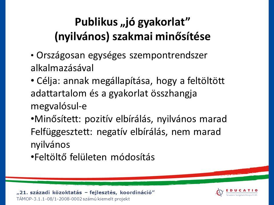 """""""21. századi közoktatás – fejlesztés, koordináció"""" TÁMOP-3.1.1-08/1-2008-0002 számú kiemelt projekt Publikus """"jó gyakorlat"""" (nyilvános) szakmai minősí"""